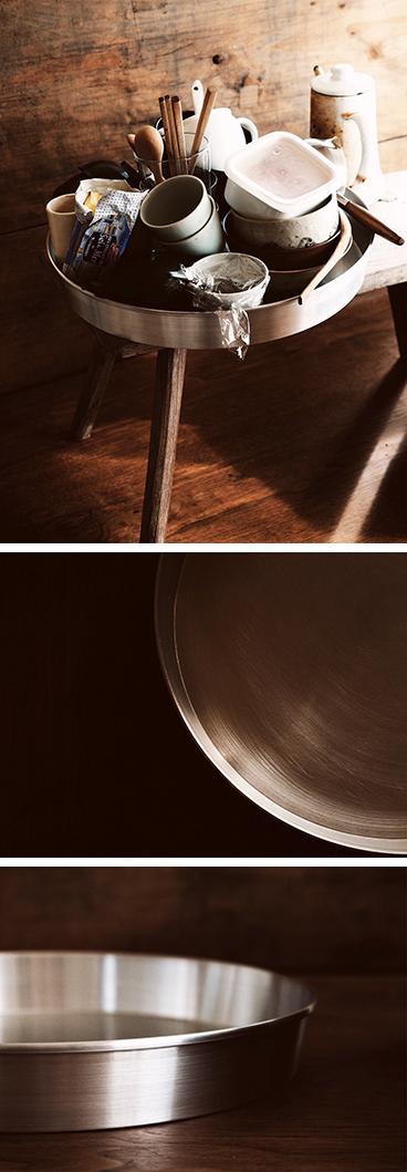 へら絞りのアルミ盆、バール