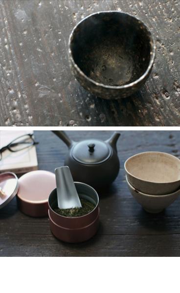 燕の銅製茶筒
