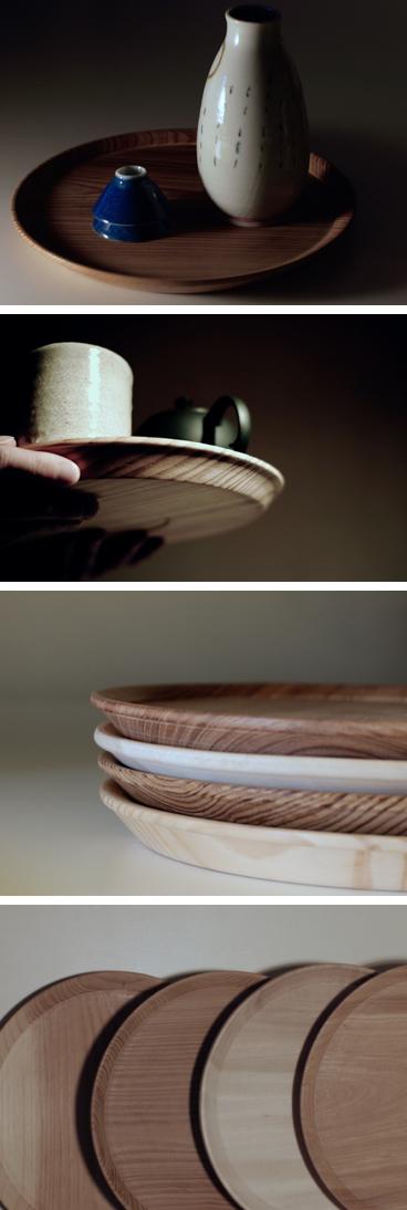 国産木材、欅、栃、杉、松の一枚板で作った東屋の山茶盆