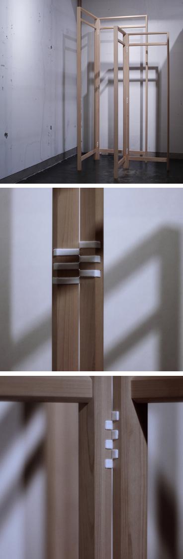 紐蝶番を使った檜の衣桁