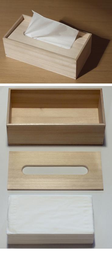 檜のティッシュケース。長野県産