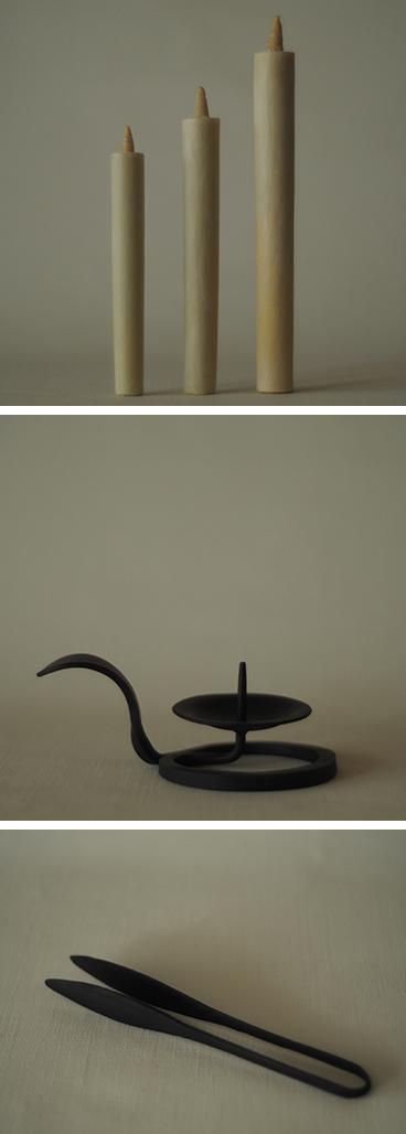 内子の和蝋燭と燭台
